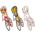 man riding bicycle in three sketches vector image