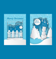 merry christmas cutout greeting card city building vector image