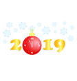 new year 2019 gold numbers christmas ball clock vector image