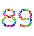 number 89 eighty nine of colorful hearts on white vector image