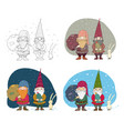 old christmas gnomes and a hare new year card vector image