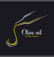 olive oil logo bottle olive oil on black vector image