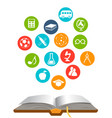 open book with education icons vector image vector image