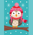 owl on branch in the winter vector image vector image