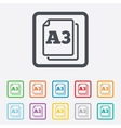 Paper size A3 standard icon Document symbol vector image vector image