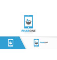 pharmacy and phone logo combination vector image vector image