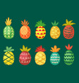 pineapples with bright ornaments set wavy red vector image vector image