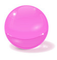 pink glass ball 3d sign with shadow vector image vector image