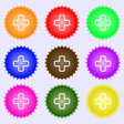 Plus icon sign A set of nine different colored vector image