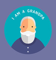 Portrait Of Grandfather Flat Design Icon with Text vector image vector image
