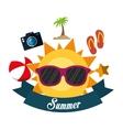 poster summer fun sun glasses ball flip flop vector image vector image