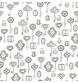 seamless black and white pattern with keys vector image