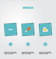 set of food icons flat style symbols with fried vector image
