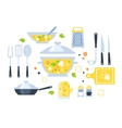 Soup Preparation Set Of Utensils vector image vector image