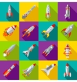 Space rocket icons set flat style vector image
