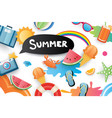 summer cute symbol icon elements for beach party vector image vector image