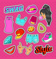 swag style teenage fashion stickers badges vector image vector image