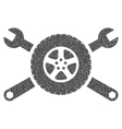 Tire Service Wrenches Grainy Texture Icon vector image vector image