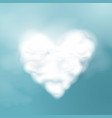 valentines day cloud shape a heart 3d vector image vector image