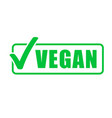 vegan icon vegetarian healthy food green stamp vector image vector image