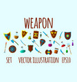 weapon and flask set icons cartoon vector image vector image