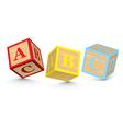 word abc written with alphabet blocks