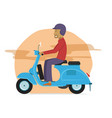 young guy riding classic scooter motorcycle vector image vector image