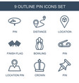 9 pin icons vector image vector image