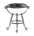 bbq grill front view monochrome blurred silhouette vector image