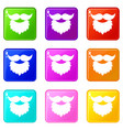 beard and mustache icons 9 set vector image