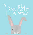 bright blue happy easter poster with cute rabbit vector image