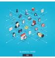 business integrated 3d web icons digital network vector image