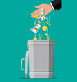 businessman hand putting dollar bills in trash vector image vector image