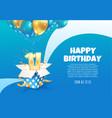celebrating 11 th years birthday vector image