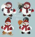 christmas snowmen set for design vector image vector image