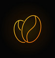 coffee beans yellow line icon on dark vector image
