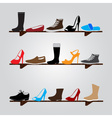 color boots on shelf eps10 vector image vector image