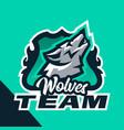 colorful emblem howling wolf logo badge vector image vector image