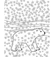 coloring page with baby bear vector image