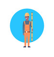 construction worker icon african american builder vector image vector image