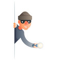 corner thief with flashlight peeping out of the vector image vector image