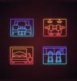 cruise ship facilities neon light icons set vector image