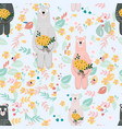 cute cartoon teddy bear in wild flower garden vector image