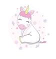cute unicorn face cartoon character design vector image vector image