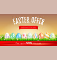 easter sale limited offer get up to 50 percent vector image vector image