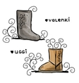 Felt boots and uggi sketch for your design vector image vector image