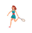 female tennis player with racket in her hand vector image vector image