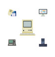 flat icon computer set of processor technology vector image vector image
