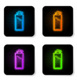 glowing neon sport bottle with water icon vector image