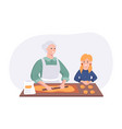 grandmother and granddaughter couple cooking vector image vector image